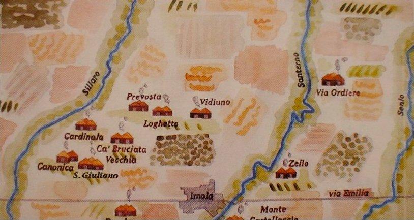 disegno mappa villaggi età del bronzo tra sillaro e senio